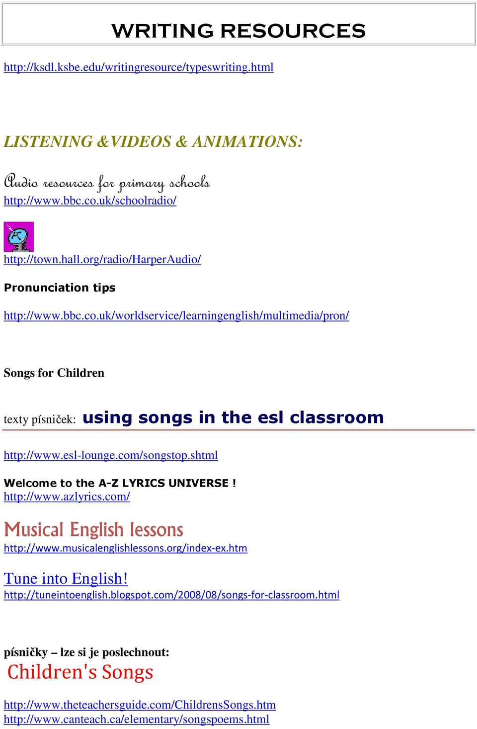 esl-lounge.com/songstop.shtml Welcome to the A-Z LYRICS UNIVERSE! http://www.azlyrics.com/ Musical English lessons http://www.musicalenglishlessons.org/index-ex.htm Tune into English!