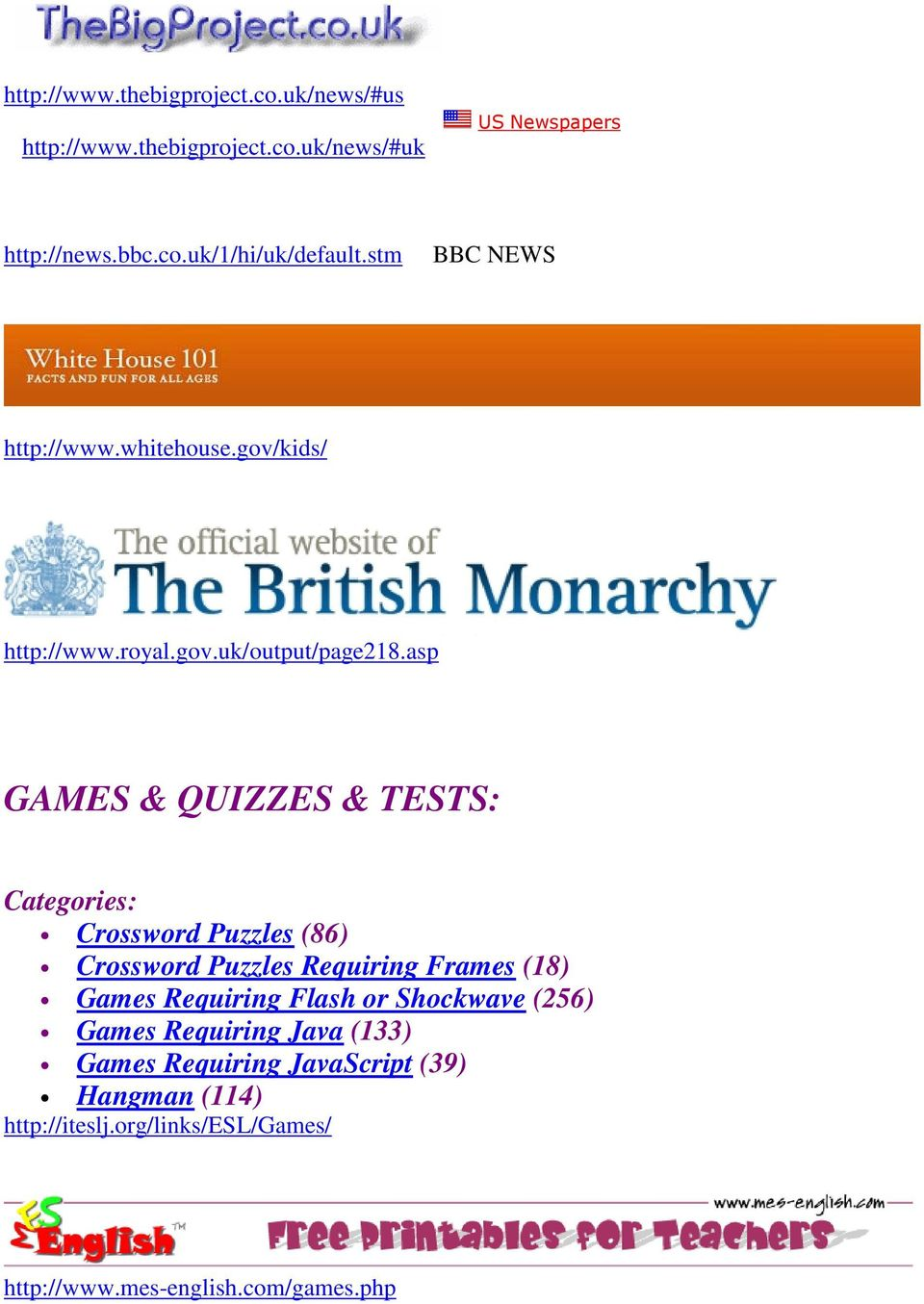 asp GAMES & QUIZZES & TESTS: Categories: Crossword Puzzles (86) Crossword Puzzles Requiring Frames (18) Games Requiring Flash