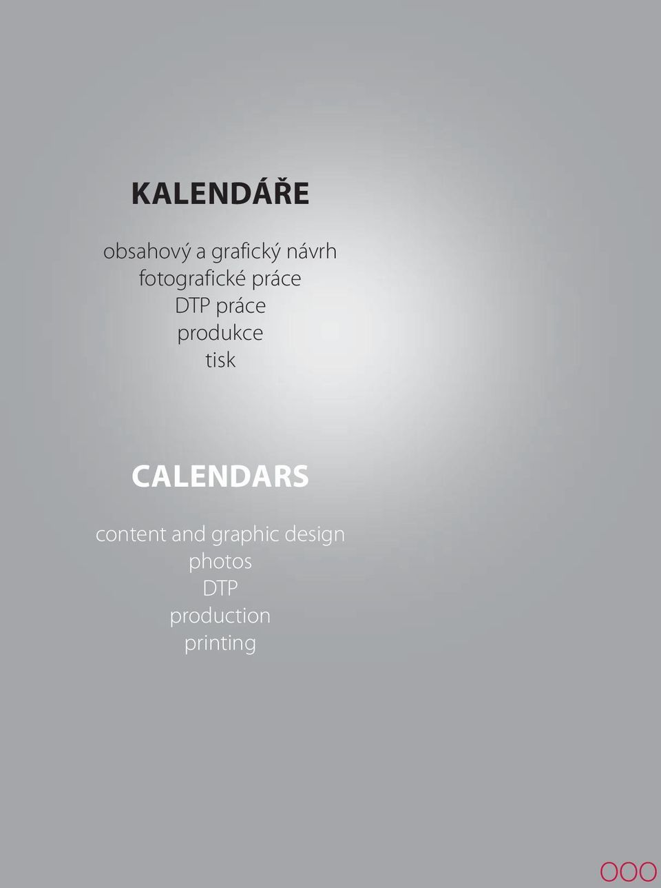 produkce tisk CALENDARS content and
