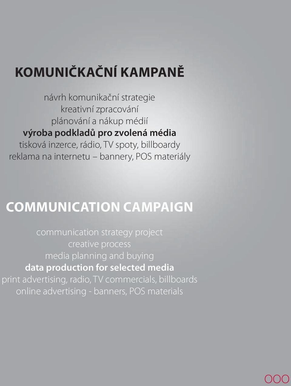 COMMUNICATION CAMPAIGN communication strategy project creative process media planning and buying data