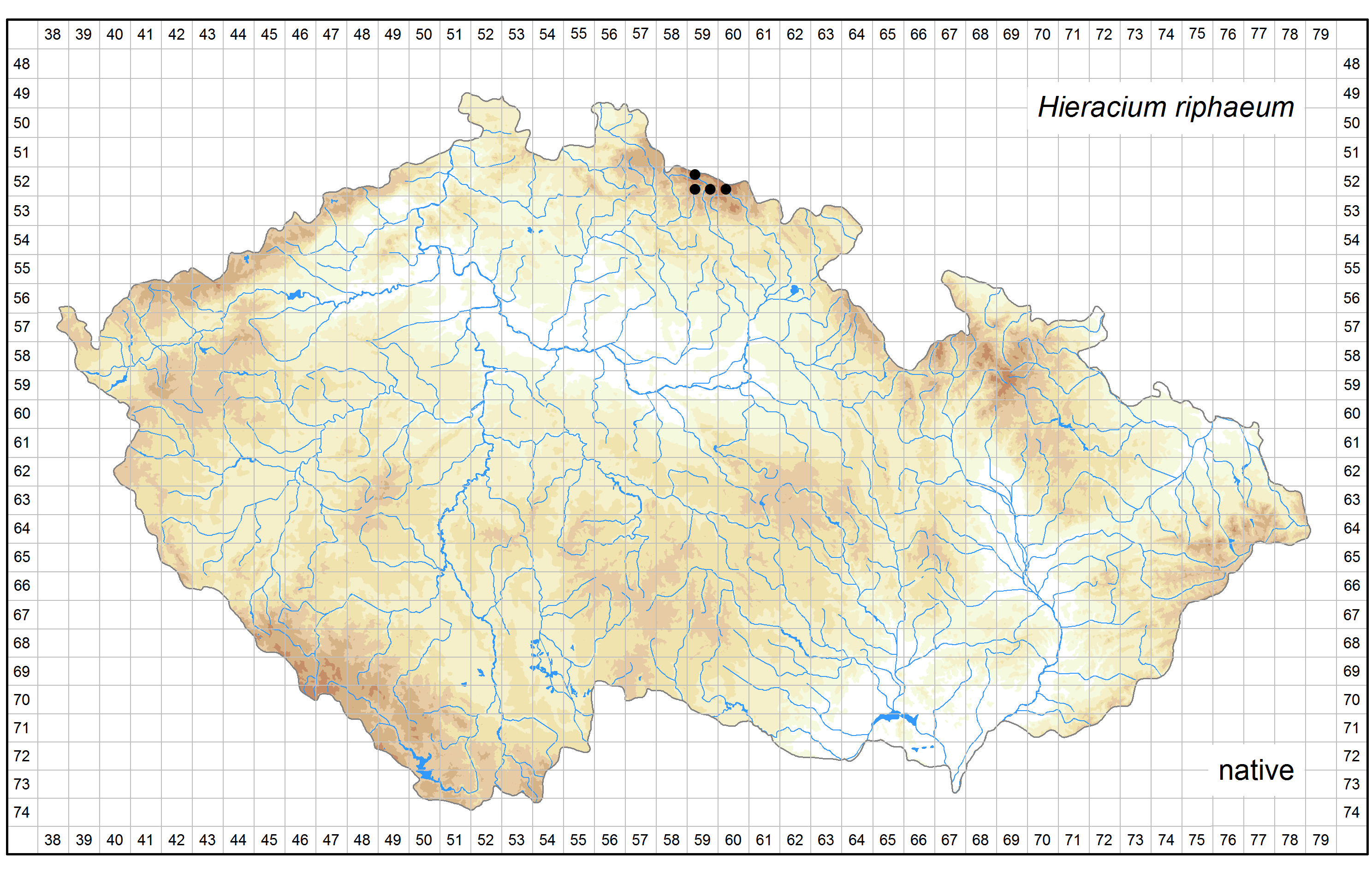 Distribution of Hieracium riphaeum in the Czech Republic Author of the map: Jindřich Chrtek Map produced on: 11-11-2016 Database records used for producing the distribution map of Hieracium riphaeum