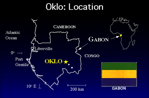 Štěpení přírodní reaktor Oklo Oklo (Gabon, west Africa) - deposit of uranium with only 0.44% (some as low as 0.29%) U-235 compared to the normal 0.72% discovered.