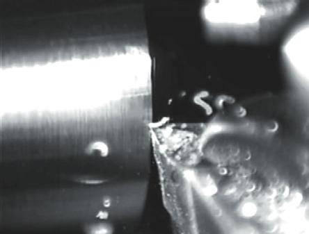 Figure 8 Turning of Brass a) increased cutting condition, b) decreased cutting condition 3.