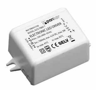 DOPLŇKY ACCESSORIES ZUBEHÖR LED DRIVERY LED DRIVERS LED DRIVER ~50Hz MAX 3W 50 30 20 LED DRIVER 3W DR003/700 [] 3W IP20 700mA DC ~50Hz 68 35 21 LED DRIVER 6W DR006/700 [] 6W