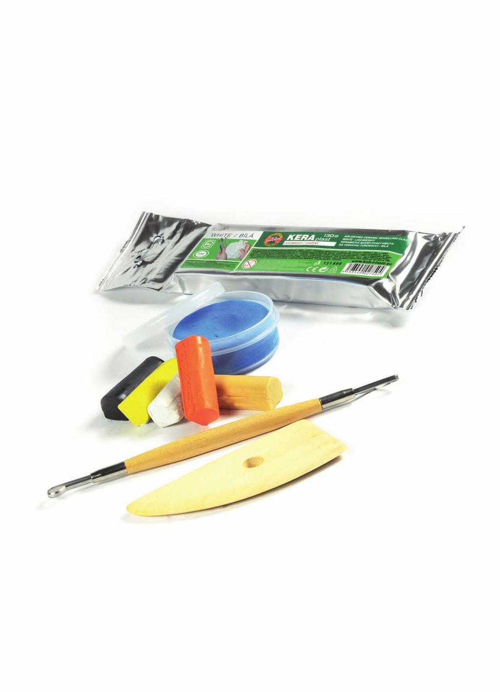 Modelling clays, modelling tools and decorative lacquers Modelliermassen, Spachteln und