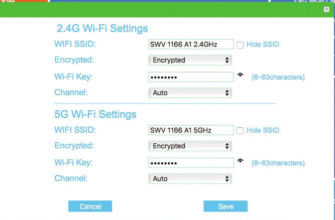 In the Wi-Fi Settings area, you can set your Wi-Fi SSID and/or Wi-Fi Key, or you can keep the default Wi-Fi SSID and Wi-Fi Key. Click Save button after AP settings.