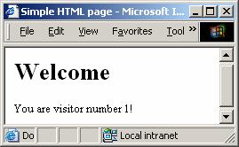 "ASP.NET Statická webová stránka Pure HTML <html> <head> <title>simple HTML page</title> </head> <body> <h1>welcome</h1> You are visitor number 1! </body> </html> My.html Browser Request(""My."