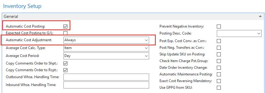 Inventory setup (Nastavení zásob) Automatic Cost Posting : Specifies that the Automatic Cost Posting function is used.