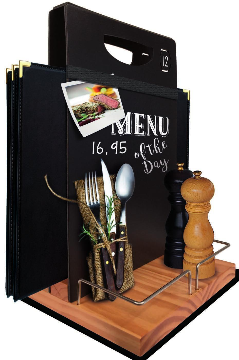 Table caddy EN Wood Based Table Chalkboard - Menu holding table caddy with double