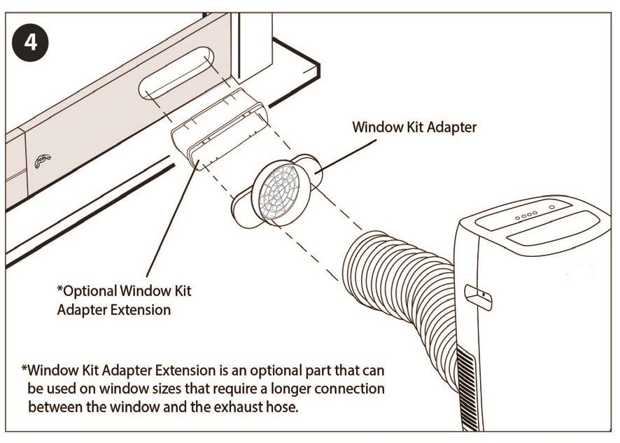 Window Kit Adapter Keep the exhaust hose as short and straight as possible for maximum efficiency.
