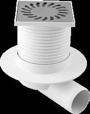 Horizontl outlet DN 50; lod-ering pity K3 300 kg, thermlly resistnt up to 90 C, omplint with stndrd EN 1253-1. Spre prts: A grille, n odour stopper, seling ring.