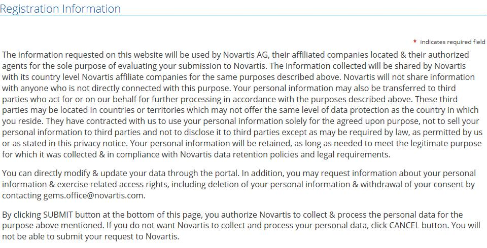 The fllwing text is arund the subject f data privacy: The infrmatin requested n this website will be used by Nvartis AG, their affiliated cmpanies lcated & their authrized agents fr the sle purpse f