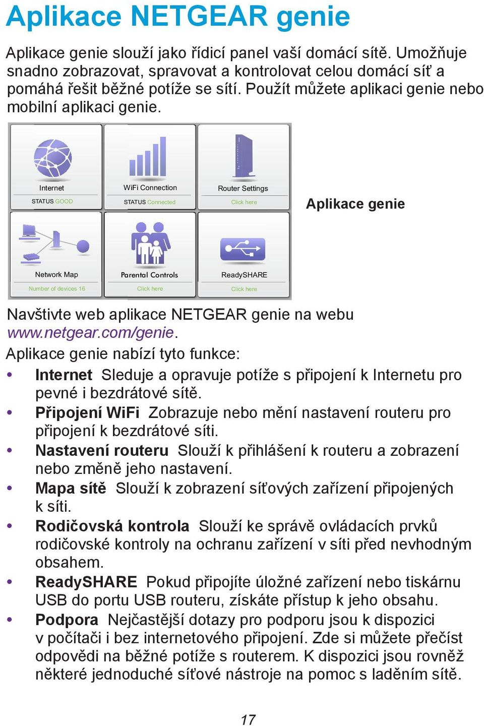 Internet STATUS GOOD WiFi Connection STATUS Connected Router Settings Click here Aplikace genie Network Map Parental Controls ReadySHARE Number of devices 16 Click here Click here Navštivte web